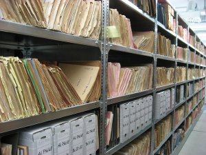 Image of filing on shelving